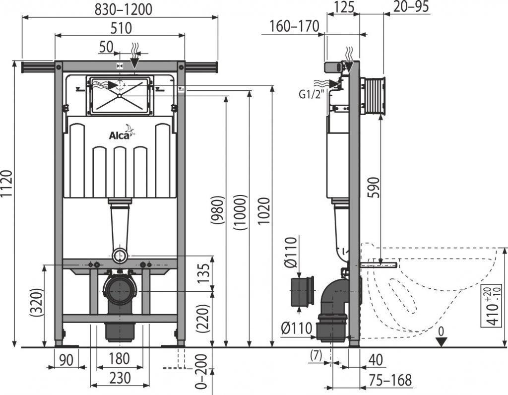 ALCAPLAST  Jádromodul - předstěnový instalační systém s bílým/ chrom tlačítkem M1720-1 + WC REA Tino Rimless + SEDÁTKO (AM102/1120 M1720-1 TR1)