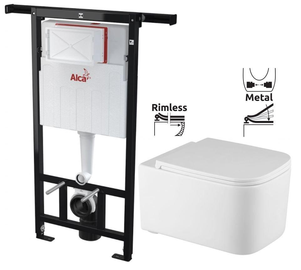 ALCAPLAST Jádromodul předstěnový instalační systém bez tlačítka + WC REA Tino Rimless + SEDÁTKO AM102/1120 X TR1