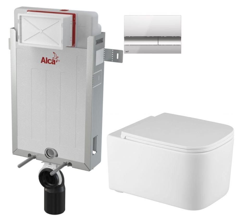 ALCAPLAST  Renovmodul - předstěnový instalační systém s chromovým tlačítkem M1721 + WC REA Tino Rimless + SEDÁTKO (AM115/1000 M1721 TR1)