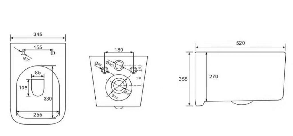 LAUFEN Rámový podomítkový modul CW1 SET s bílým tlačítkem + WC REA Tino Rimless + SEDÁTKO (H8946600000001BI TR1)