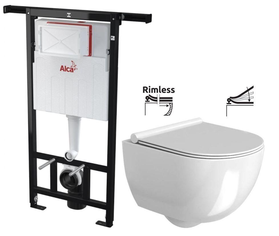 ALCAPLAST Jádromodul předstěnový instalační systém bez tlačítka + WC REA Carter Rimless + SEDÁTKO AM102/1120 X CT1