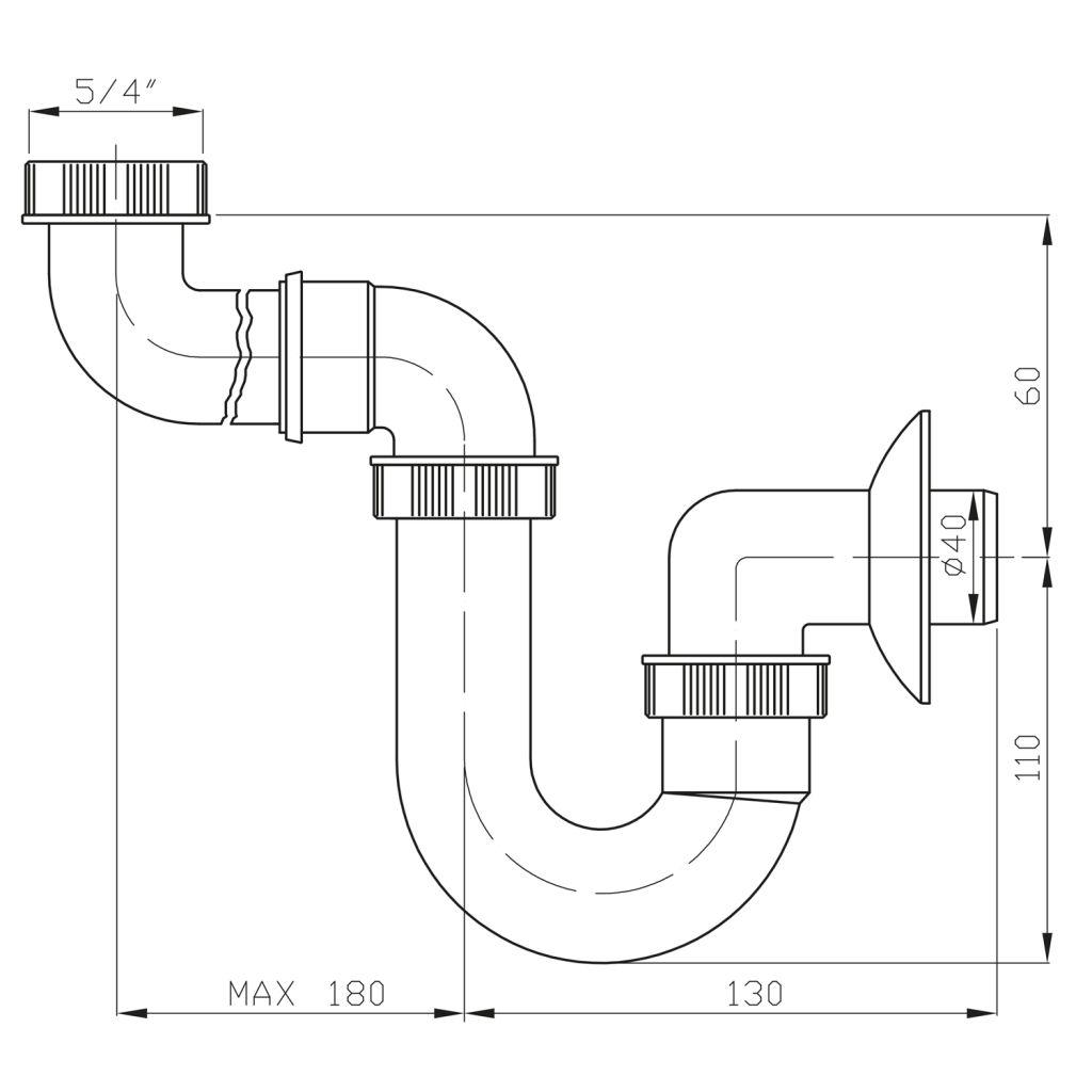 Bruckner - Umyvadlový sifon šetřící místo nízký, 1