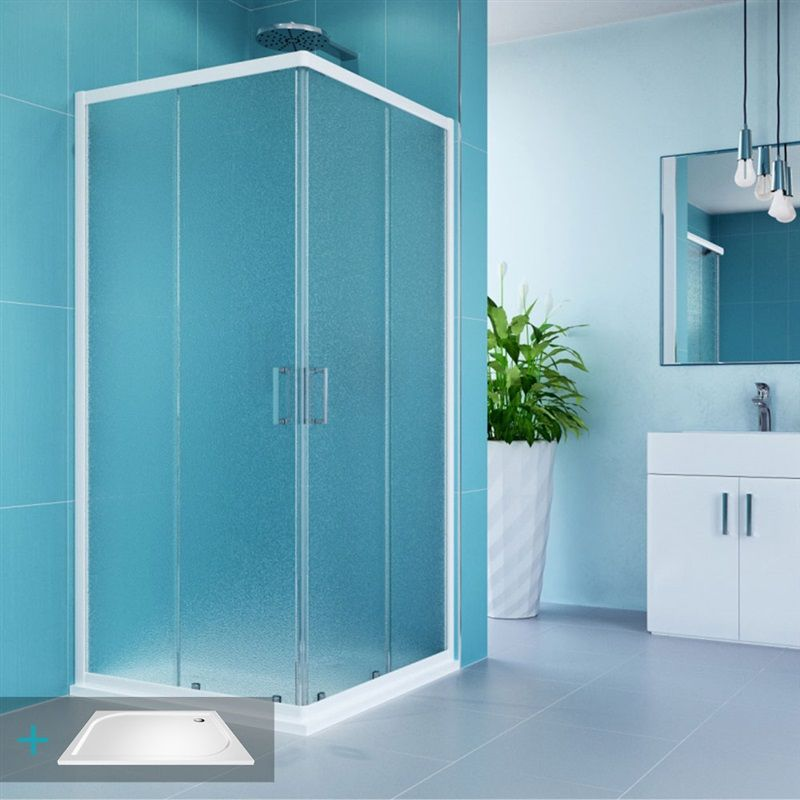 MEREO Kora sprchový set: obdélníkový kout 90x80 cm, vanička, sifon CK34121ZM
