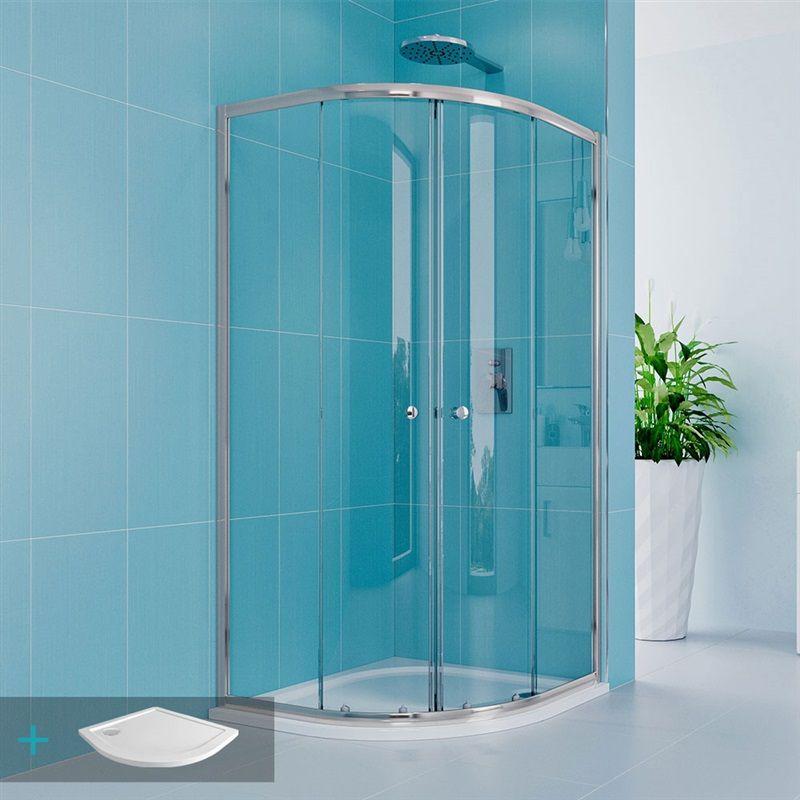 MEREO Kora Lite sprchový set: čtvrtkruhový kout 90 cm, vanička, sifon CK35123HN