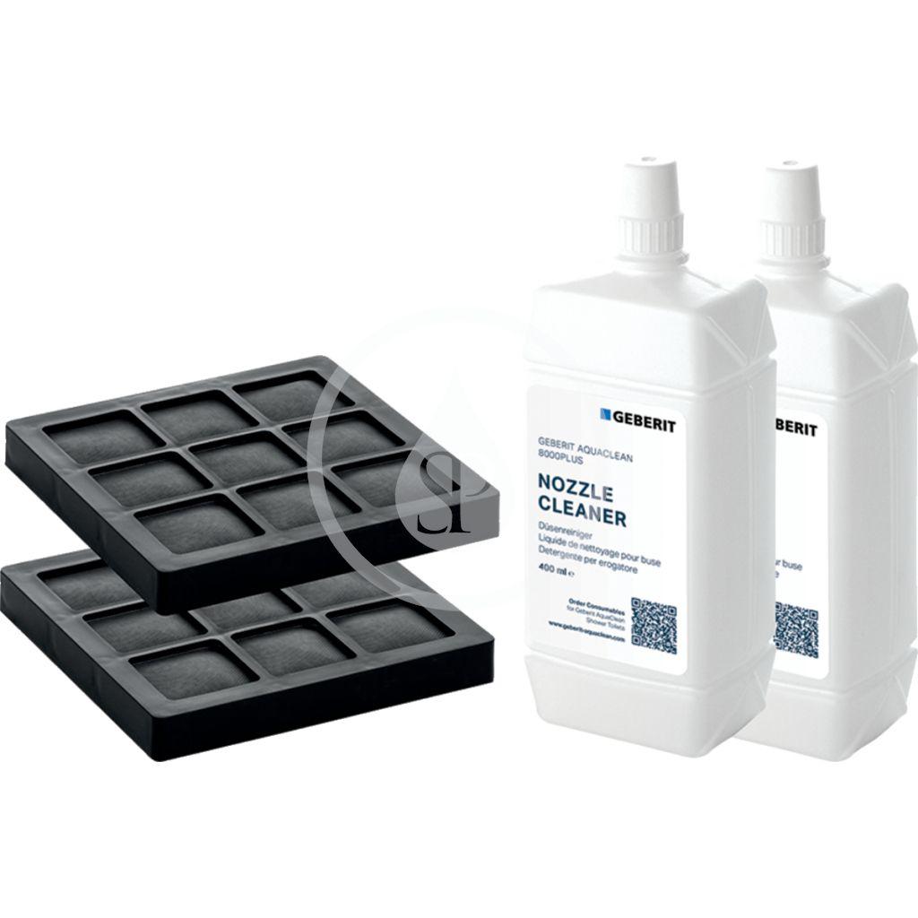 GEBERIT Příslušenství AquaClean sada filtru s aktivním uhlím a prostředku pro čištění trysky, balení