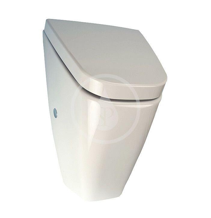 SANELA Keramika Pisoár Villa s víkem, s radarovým splachovačem, zadní přívod vody, bateriové napájení, SoftClose, bílá SLP 37RB