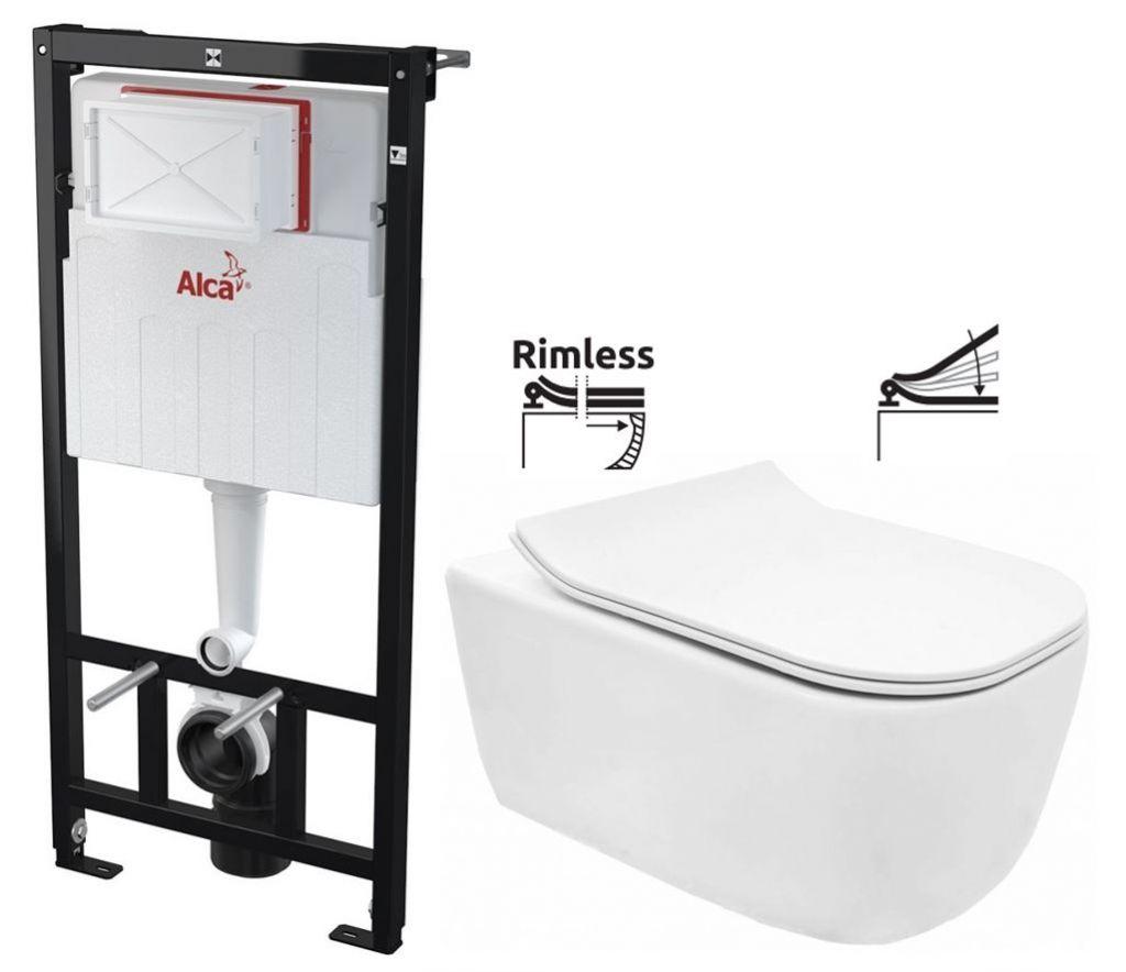 ALCAPLAST Sádromodul předstěnový instalační systém bez tlačítka + WC REA Mateo Rimless + SEDÁTKO AM101/1120 X MA1