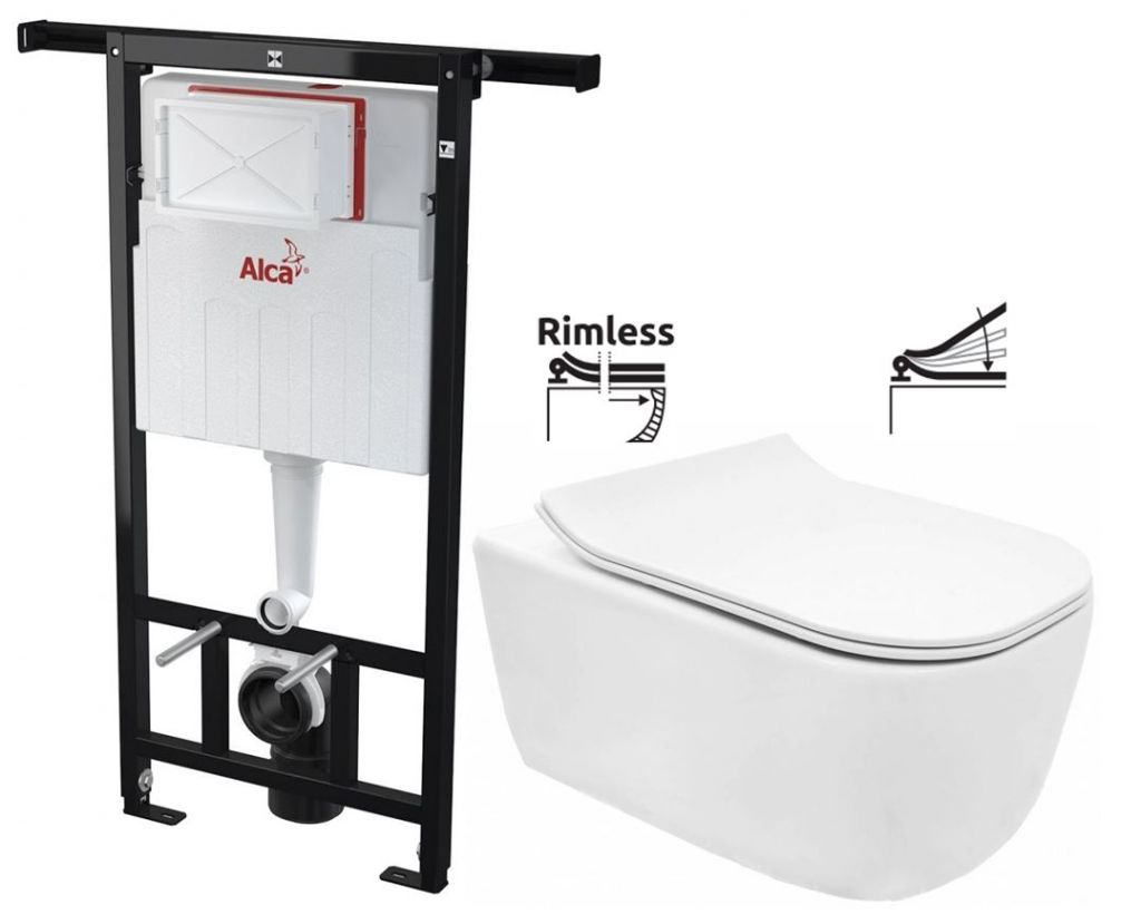 ALCAPLAST Jádromodul předstěnový instalační systém bez tlačítka + WC REA Mateo Rimless + SEDÁTKO AM102/1120 X MA1