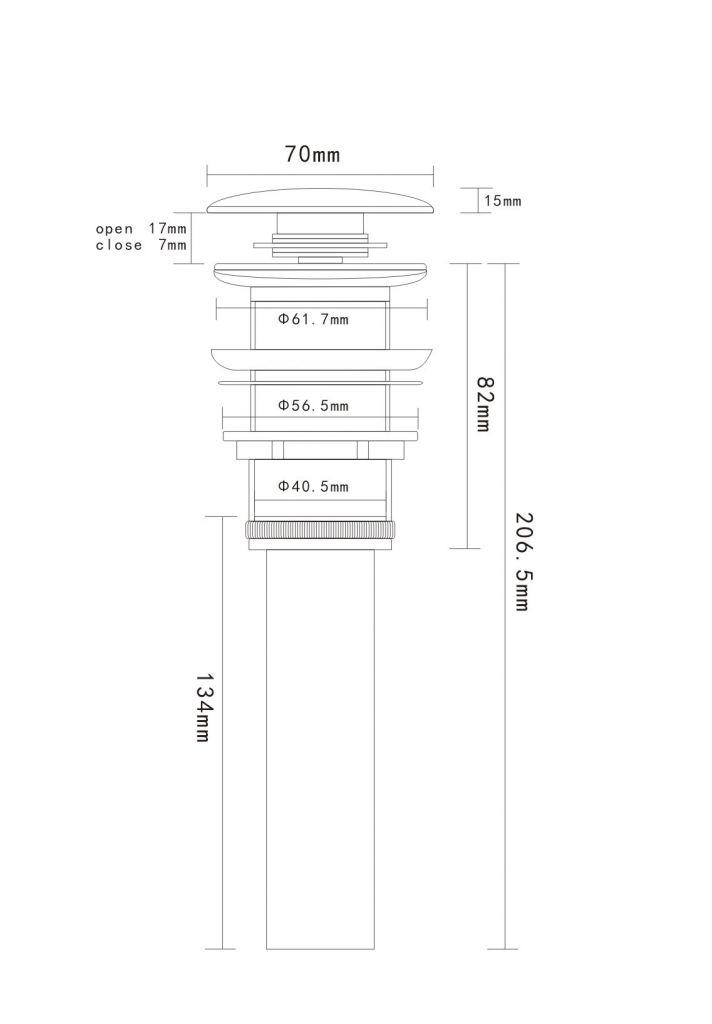 HOPA - Umyvadlová výpusť click-clack bez přepadu CHROM (OLKLT90A)