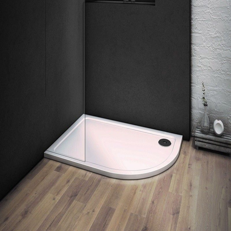 HOPA - asymetrická čtvrtkruhová sprchová vanička VENETS - Rozměr A - 100 cm, Rozměr B - 80 cm, Způsob provedení - Pravá (VANKASCTVR8010P)