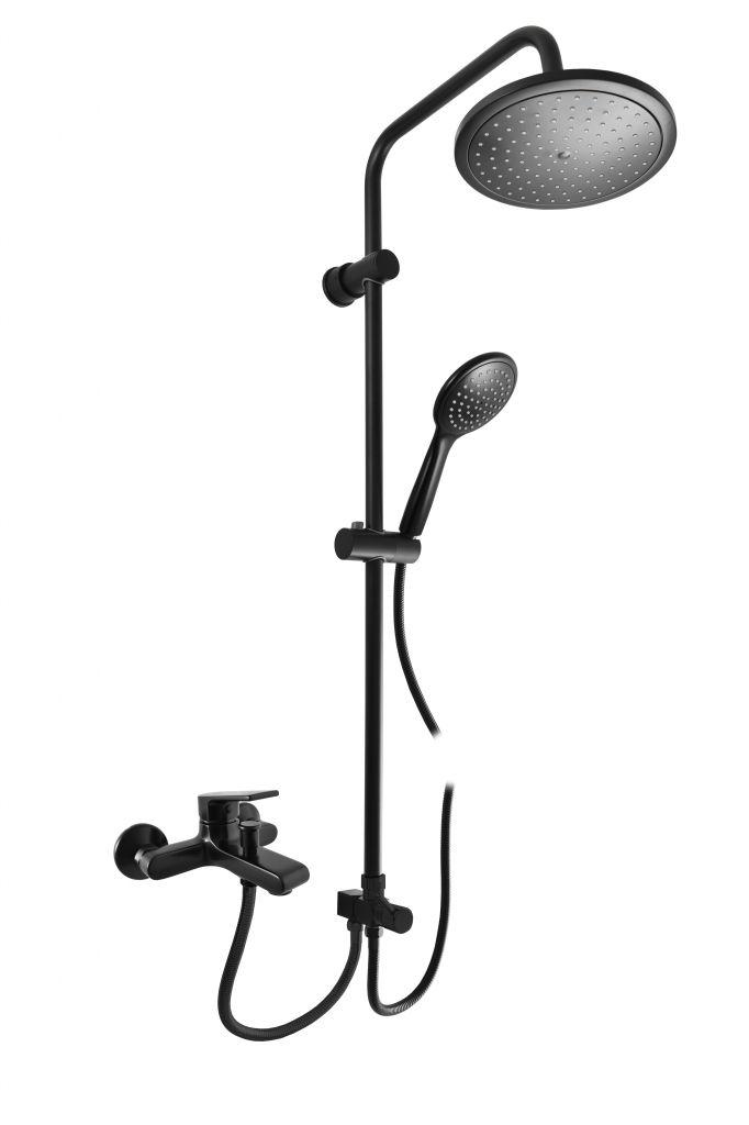 SLEZAK-RAV Vodovodní baterie vanová COLORADO s hlavovou a ruční sprchou, Barva: černá matná, Rozměr: 150 mm CO254.5/3CMAT