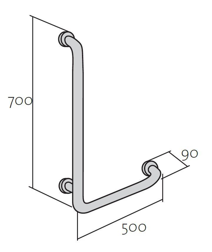 CERSANIT - Rukojeť 50x70 - vertikální/ vodorovná, pravá pro WC a sprchové kouty (K97-031), fotografie 6/3