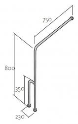 CERSANIT - Madlo 75x80 s montáží do podlahy a stěny pro WC, levé (K97-038), fotografie 6/3