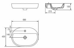 CERSANIT - Umyvadlo CASPIA OVAL 60 s přepadem (K11-0099), fotografie 20/10
