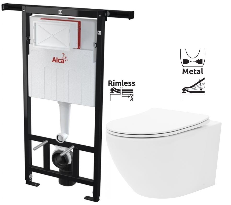 ALCAPLAST  Jádromodul - předstěnový instalační systém bez tlačítka + WC REA Carlo Flat Mini Rimless + SEDÁTKO (AM102/1120 X CF1)