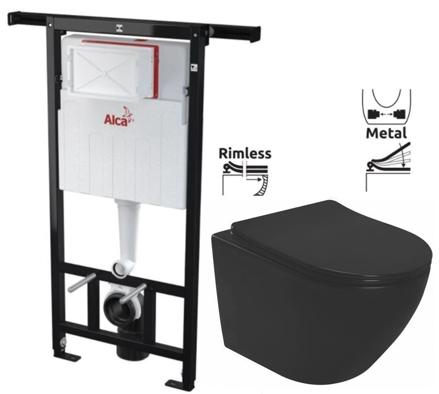ALCAPLAST  Jádromodul - předstěnový instalační systém bez tlačítka + WC REA CARLO MINI RIMLESS ČIERNY MAT + SEDADLO (AM102/1120 X MM1)