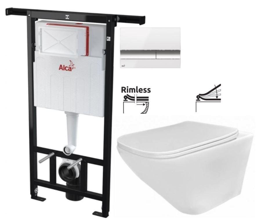 ALCAPLAST  Jádromodul - předstěnový instalační systém s bílým/ chrom tlačítkem M1720-1 + WC REA Ivo Rimless + SEDÁTKO (AM102/1120 M1720-1 IV1)