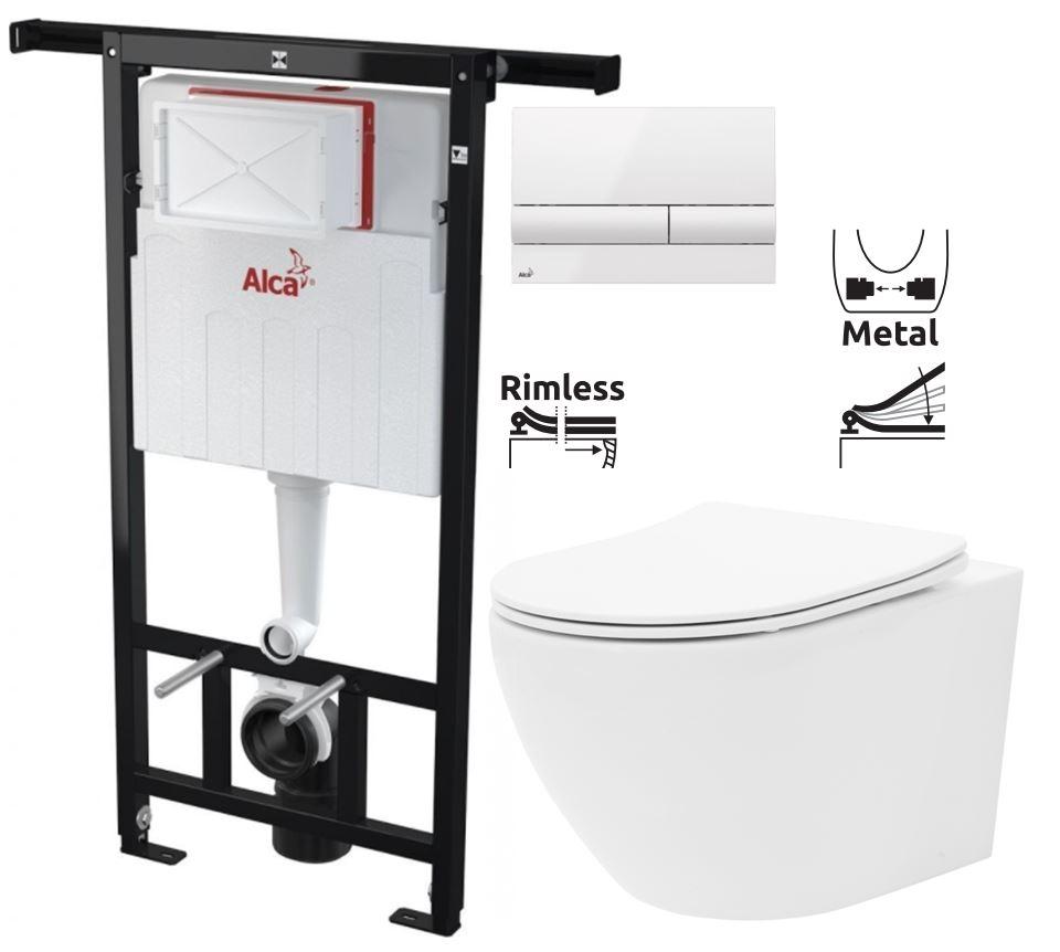 ALCAPLAST  Jádromodul - předstěnový instalační systém s bílým tlačítkem M1710 + WC REA Carlo Flat Mini Rimless + SEDÁTKO (AM102/1120 M1710 CF1)