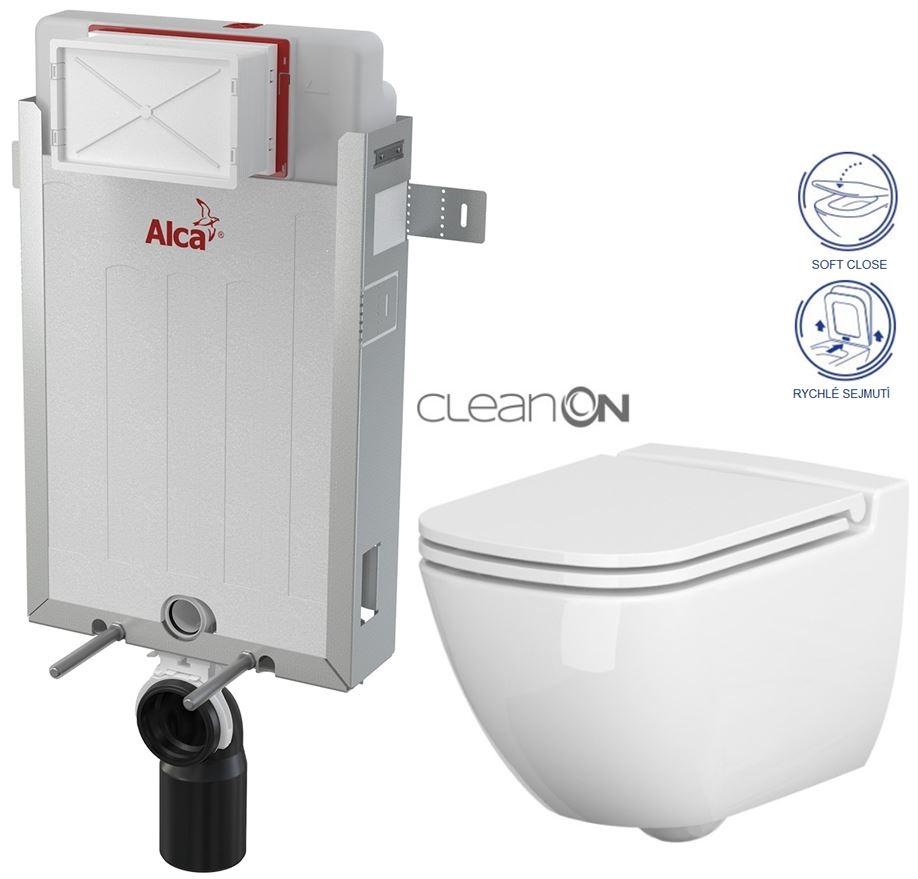 ALCAPLAST  Renovmodul - předstěnový instalační systém bez tlačítka + WC CERSANIT CLEANON CASPIA + SEDÁTKO (AM115/1000 X CP1)