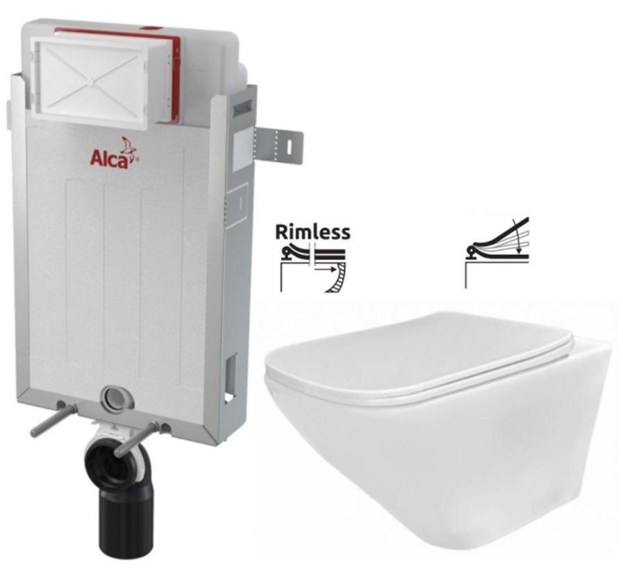 ALCAPLAST  Renovmodul - předstěnový instalační systém bez tlačítka + WC REA Ivo Rimless + SEDÁTKO (AM115/1000 X IV1)