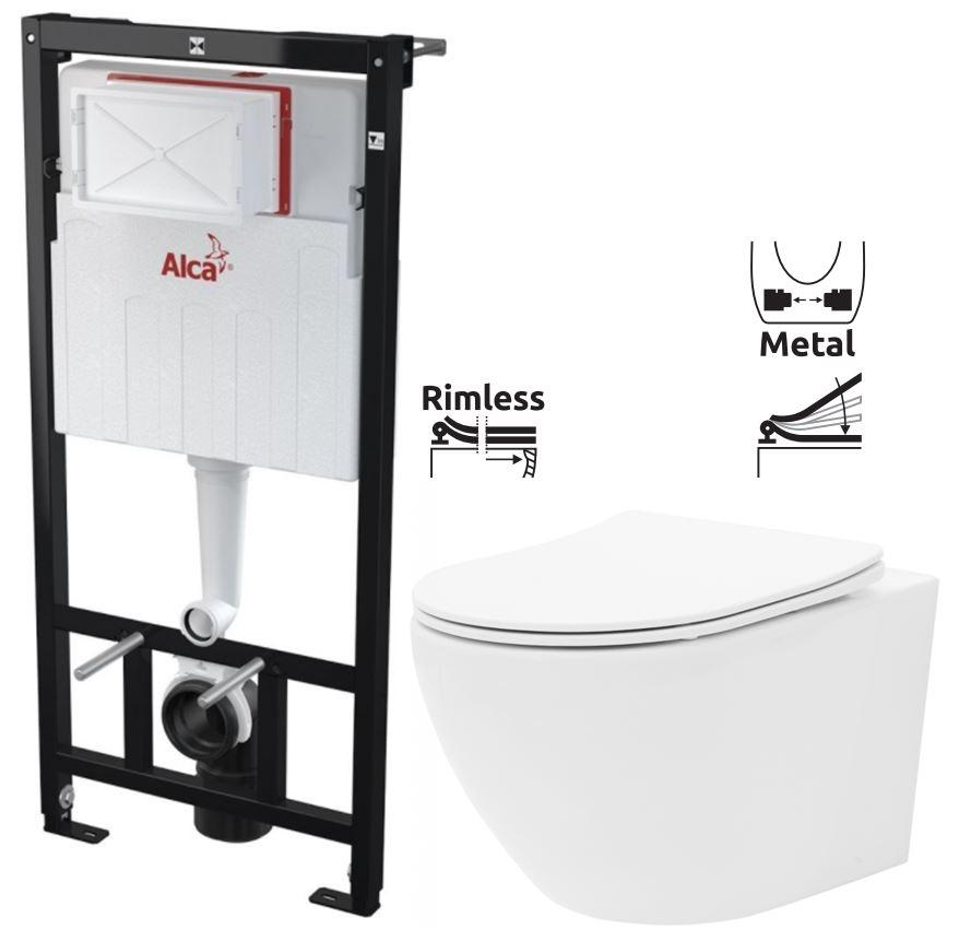 ALCAPLAST  Sádromodul - předstěnový instalační systém bez tlačítka + WC REA Carlo Flat Mini Rimless + SEDÁTKO (AM101/1120 X CF1)
