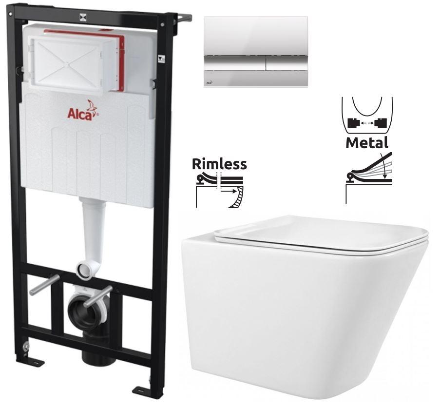 ALCAPLAST  Sádromodul - předstěnový instalační systém s chromovým tlačítkem M1721 + WC REA  Raul Rimless + SEDÁTKO (AM101/1120 M1721 RA1)