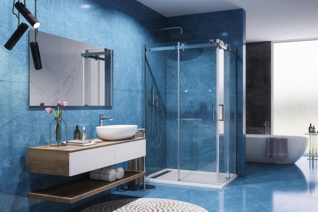 Aquatek - TEKNO R14 Chrom Luxusní sprchová zástěna obdélníková 100x80cm , sklo 8mm, varianta levá, výška 195 cm (TEKNOR14-130)