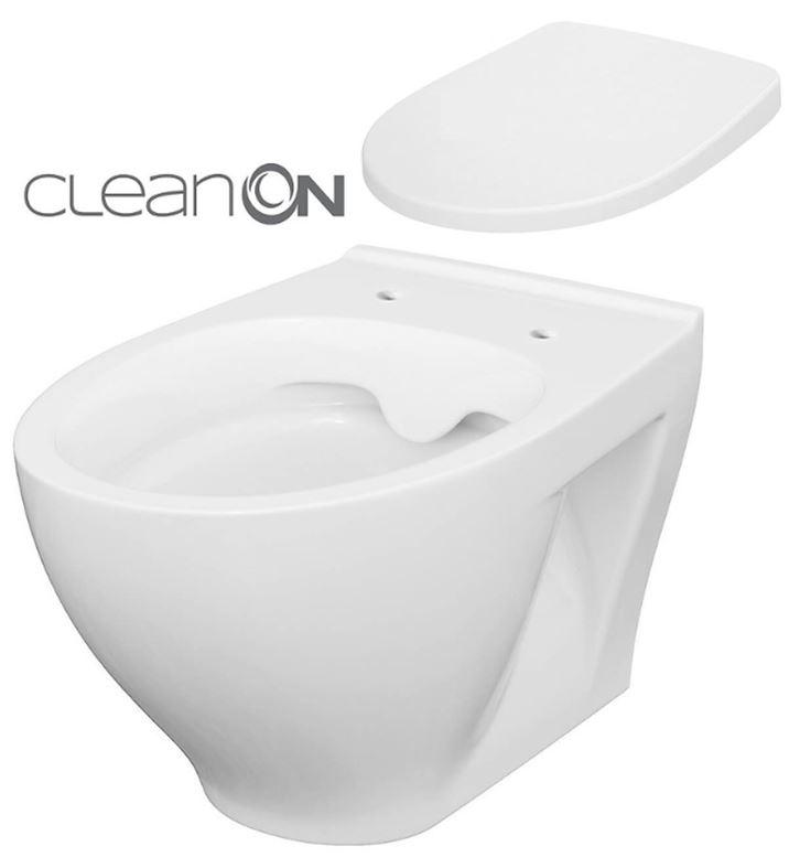 CERSANIT - SET ZÁVĚSNÁ WC MÍSA MODUO CLEANON + WC SEDÁTKO  (K701-262)