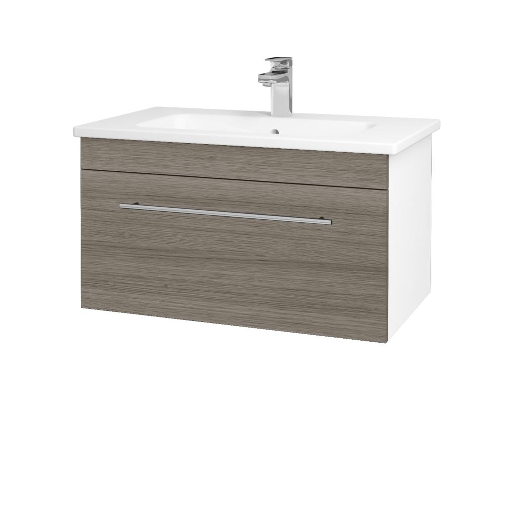 Dřevojas - Koupelnová skříň ASTON SZZ 80 - N01 Bílá lesk / Úchytka T02 / D03 Cafe (130978B)