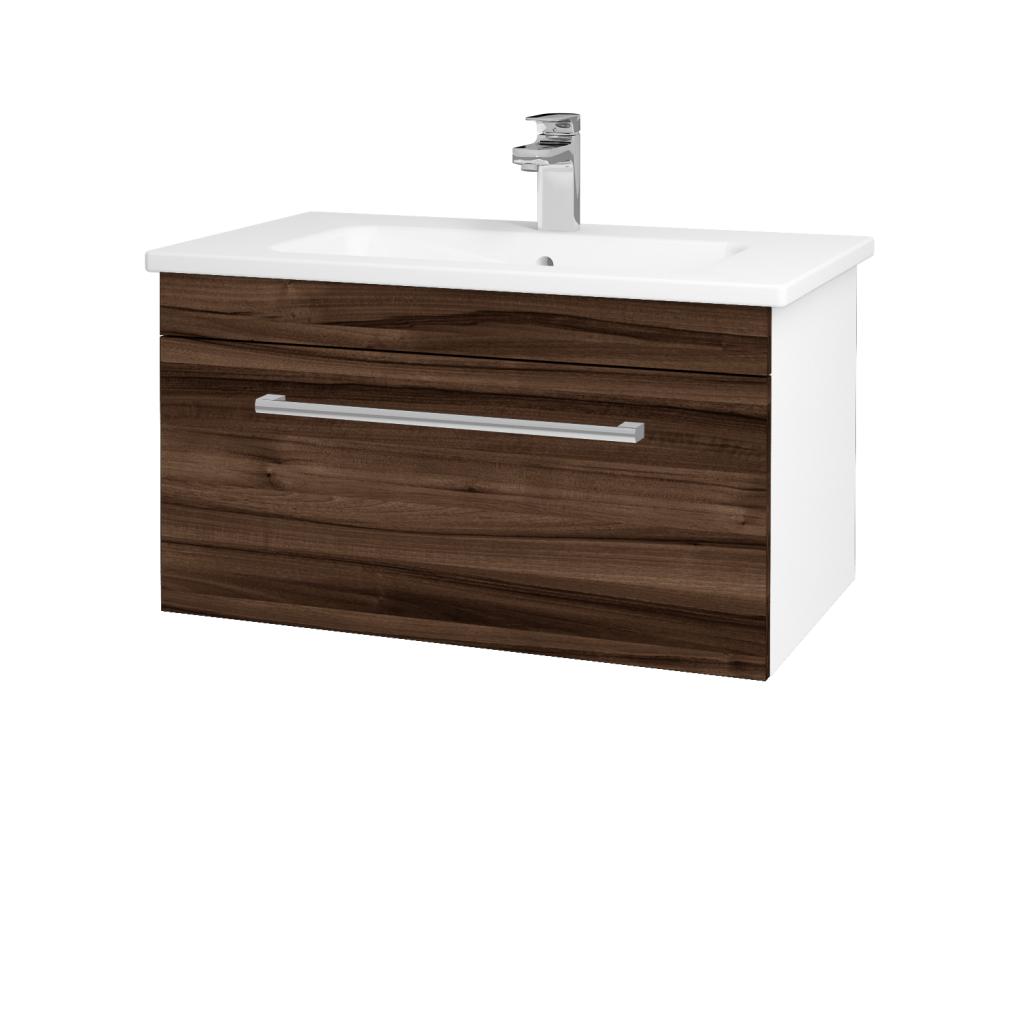 Dřevojas - Koupelnová skříň ASTON SZZ 80 - N01 Bílá lesk / Úchytka T03 / D06 Ořech (131005C)