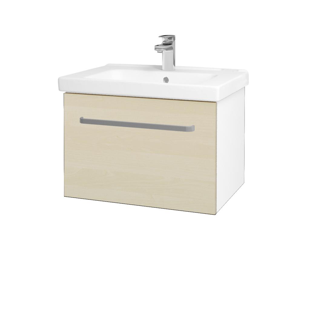 Dřevojas - Koupelnová skříň BIG INN SZZ 65 - N01 Bílá lesk / Úchytka T01 / D02 Bříza (132392A)