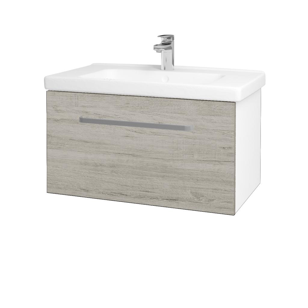 Dřevojas - Koupelnová skříň BIG INN SZZ 80 - N01 Bílá lesk / Úchytka T01 / D05 Oregon (132484A)