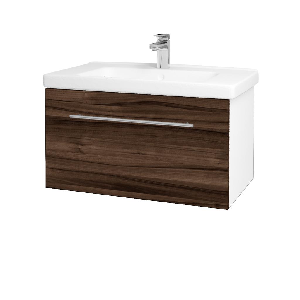 Dřevojas - Koupelnová skříň BIG INN SZZ 80 - N01 Bílá lesk / Úchytka T02 / D06 Ořech (132491B)