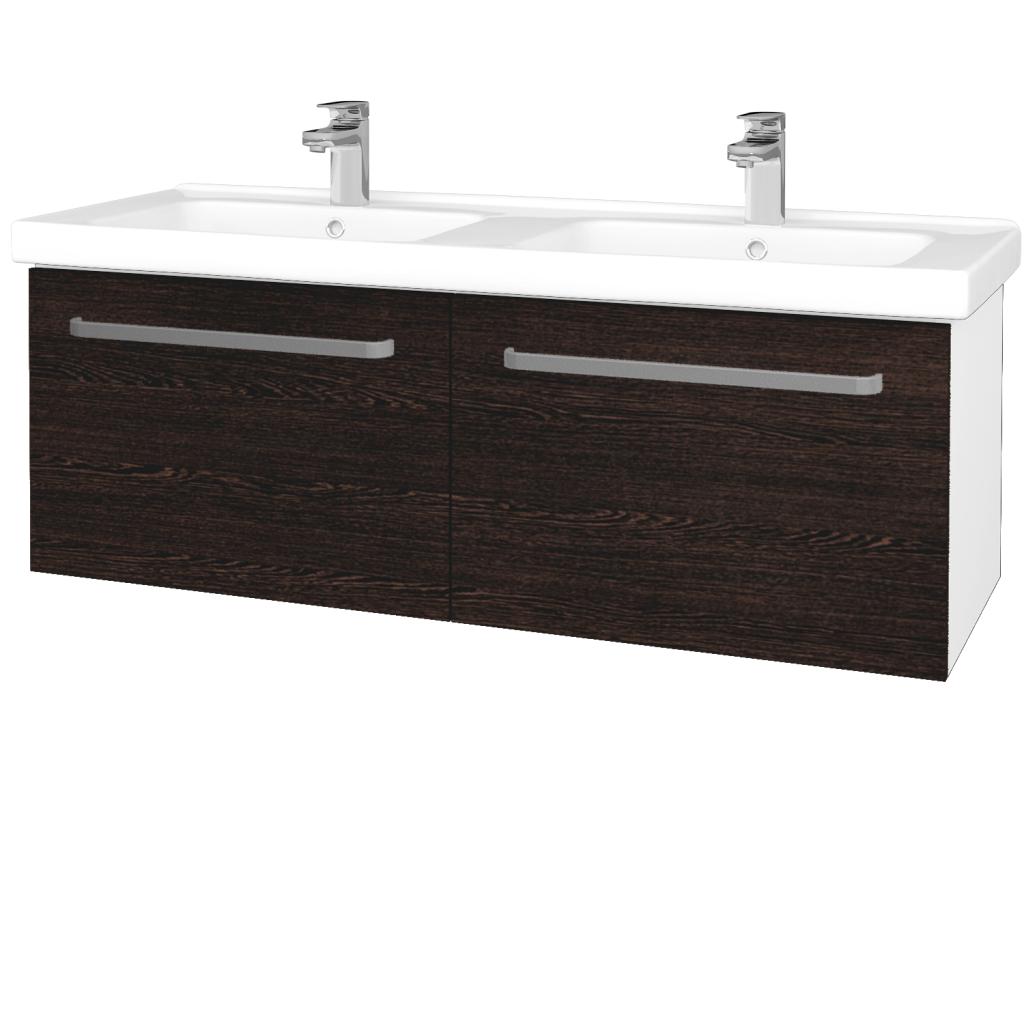 Dřevojas - Koupelnová skříň BIG INN SZZ2 125 - N01 Bílá lesk / Úchytka T01 / D08 Wenge (28759A)
