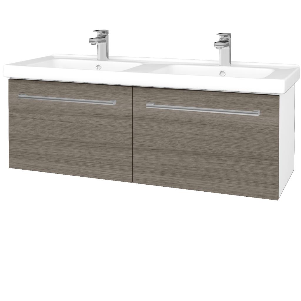 Dřevojas - Koupelnová skříň BIG INN SZZ2 125 - N01 Bílá lesk / Úchytka T03 / D03 Cafe (28704C)