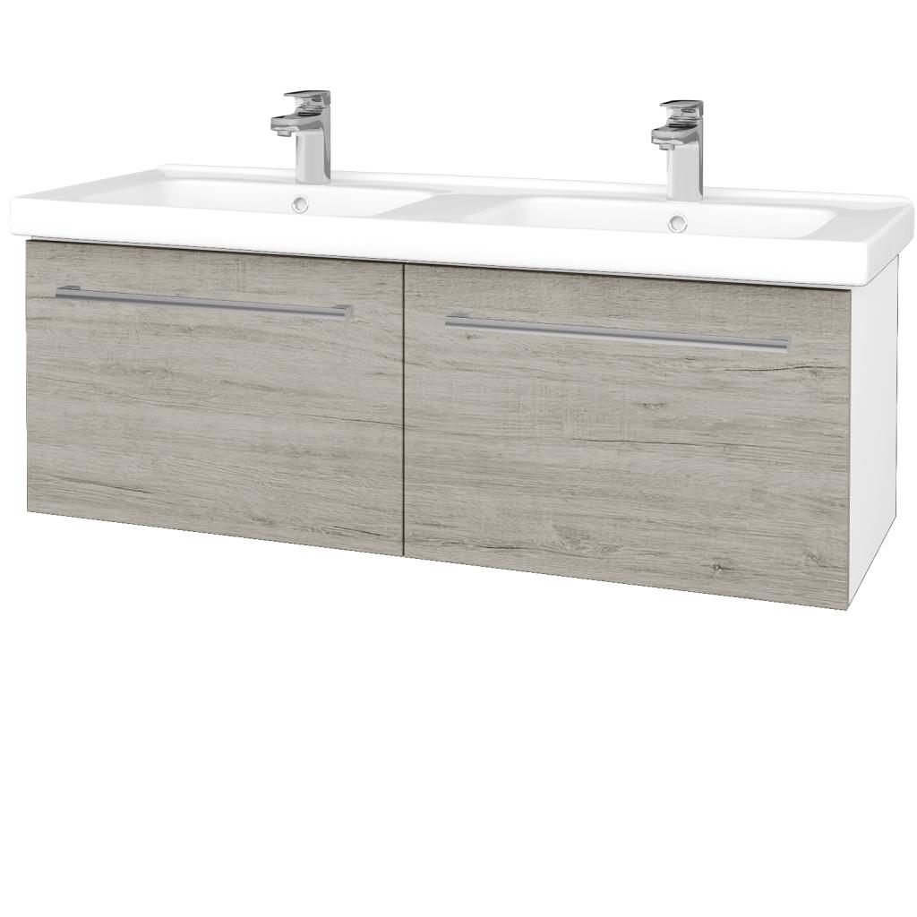 Dřevojas - Koupelnová skříň BIG INN SZZ2 125 - N01 Bílá lesk / Úchytka T03 / D05 Oregon (28728C)
