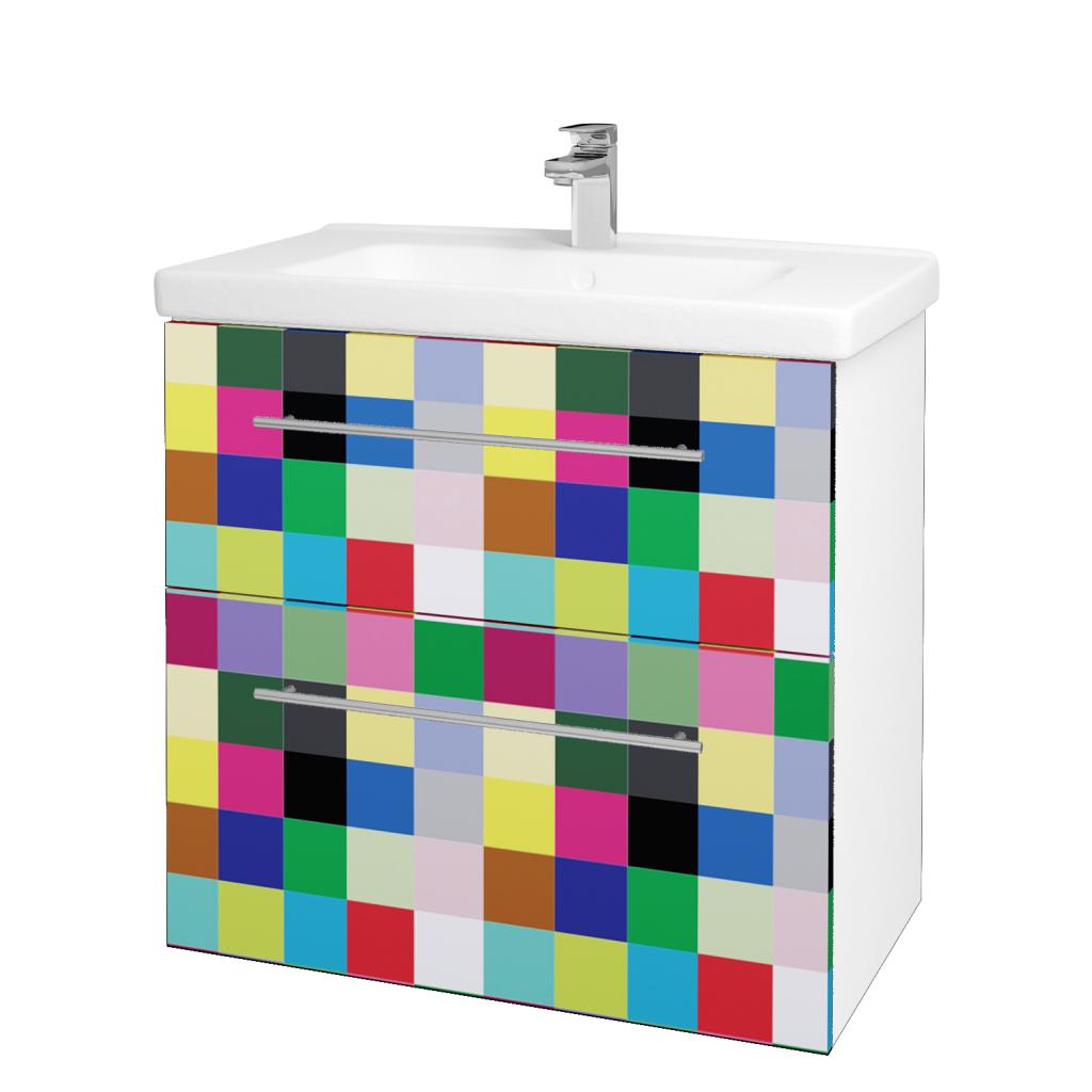 Dřevojas - Koupelnová skříň BIG INN SZZ2 80 - N01 Bílá lesk / Úchytka T02 / IND Individual (133214B)