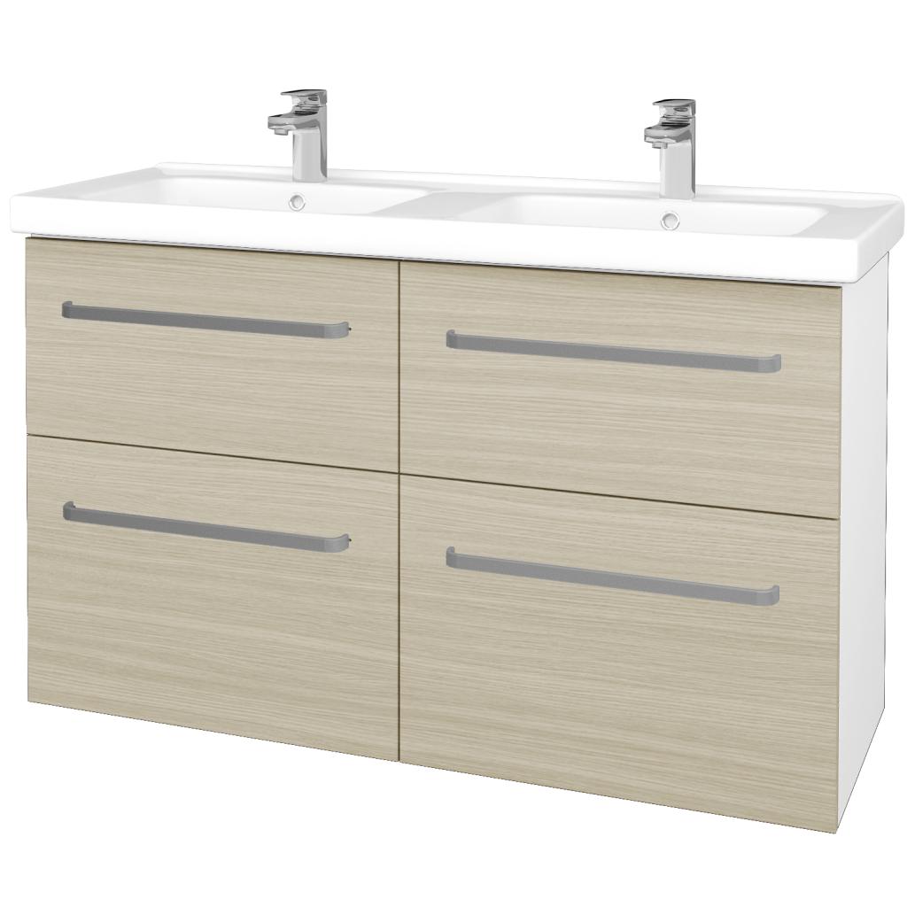 Dřevojas - Koupelnová skříň BIG INN SZZ4 125 - N01 Bílá lesk / Úchytka T01 / D04 Dub (27400A)