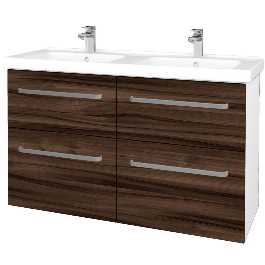 Dřevojas - Koupelnová skříň BIG INN SZZ4 125 - N01 Bílá lesk / Úchytka T01 / D06 Ořech (27509A)