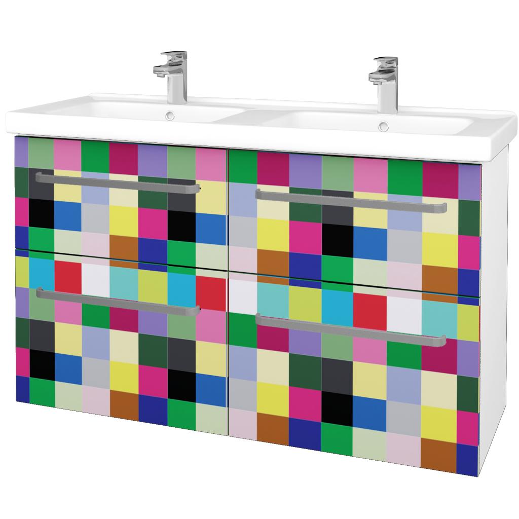 Dřevojas - Koupelnová skříň BIG INN SZZ4 125 - N01 Bílá lesk / Úchytka T01 / IND Individual (27301A)