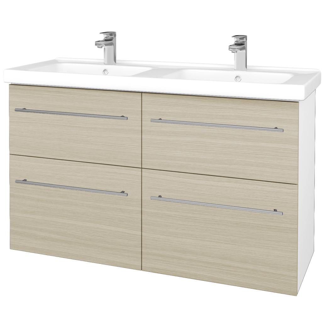 Dřevojas - Koupelnová skříň BIG INN SZZ4 125 - N01 Bílá lesk / Úchytka T02 / D04 Dub (27400B)