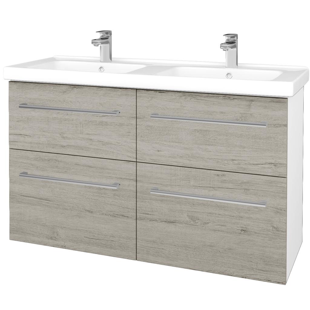Dřevojas - Koupelnová skříň BIG INN SZZ4 125 - N01 Bílá lesk / Úchytka T03 / D05 Oregon (27455C)