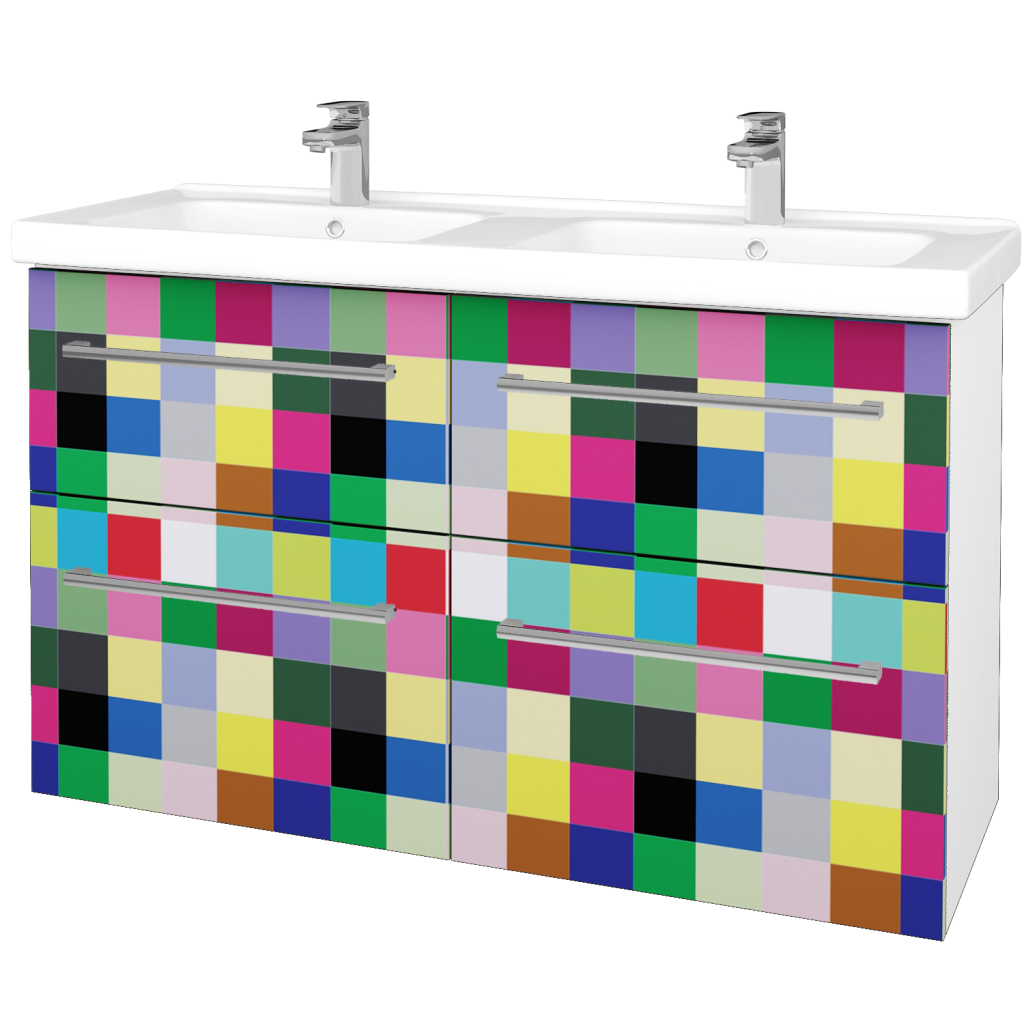 Dřevojas - Koupelnová skříň BIG INN SZZ4 125 - N01 Bílá lesk / Úchytka T03 / IND Individual (27301C)