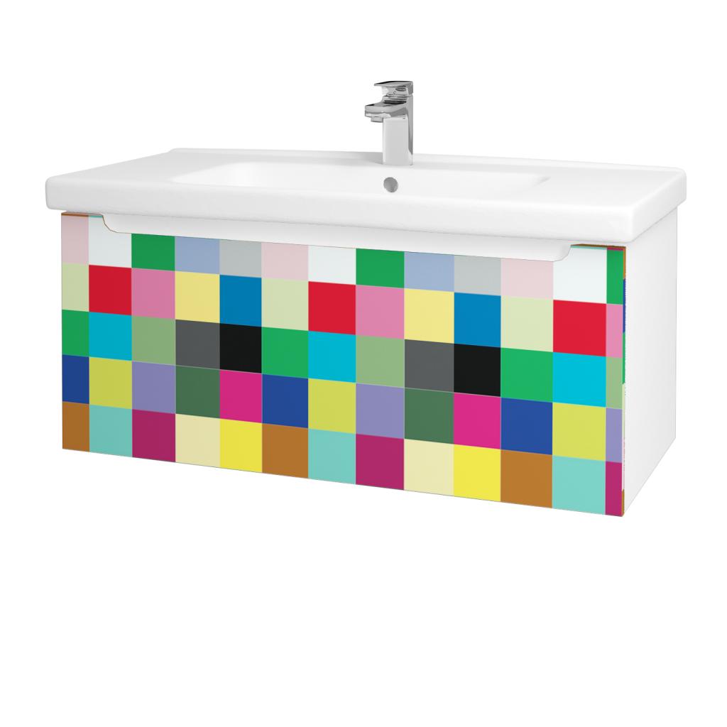 Dřevojas - Koupelnová skříň COLOR SZZ 100 - N01 Bílá lesk / IND Individual (123062)