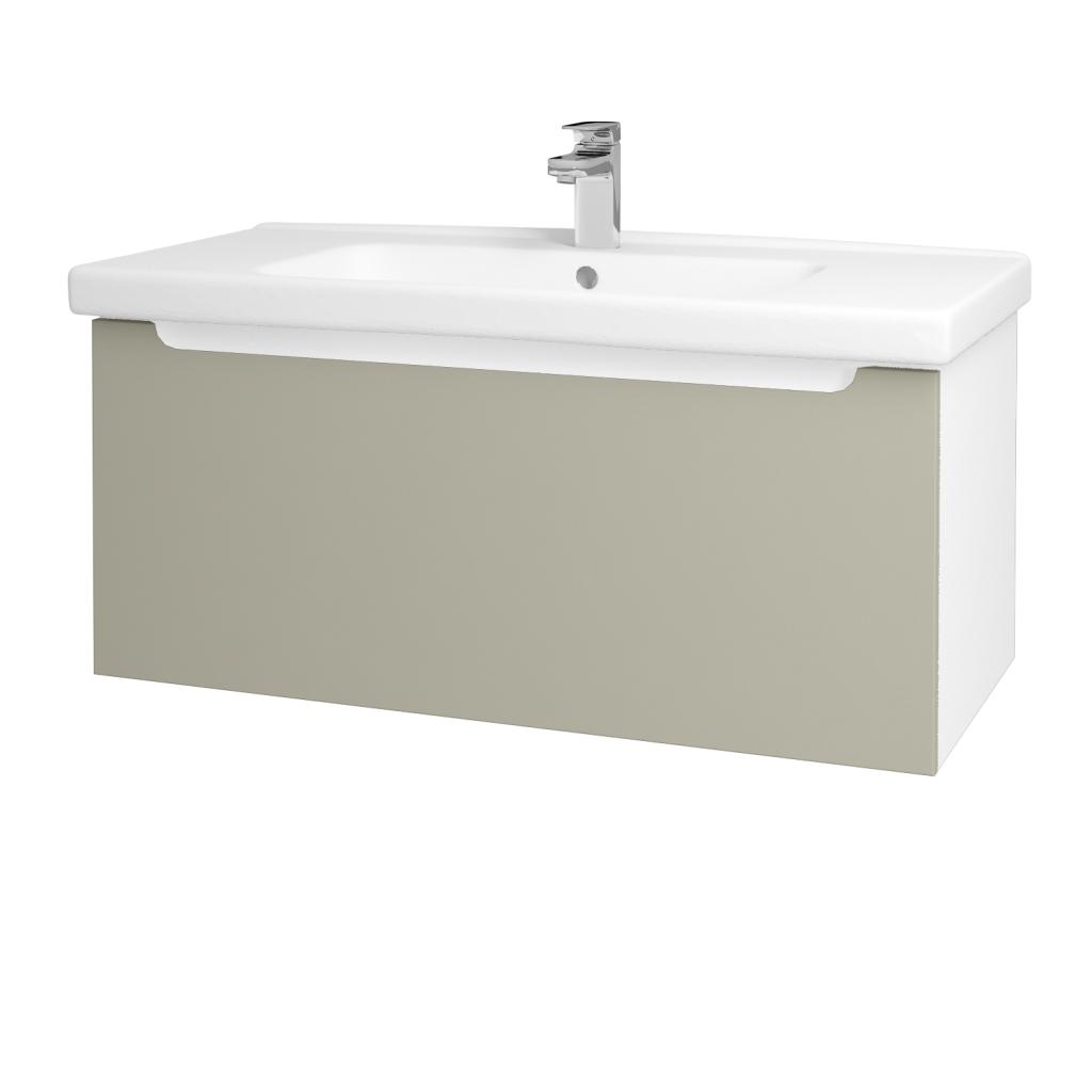 Dřevojas - Koupelnová skříň COLOR SZZ 100 - N01 Bílá lesk / L04 Béžová vysoký lesk (123055)