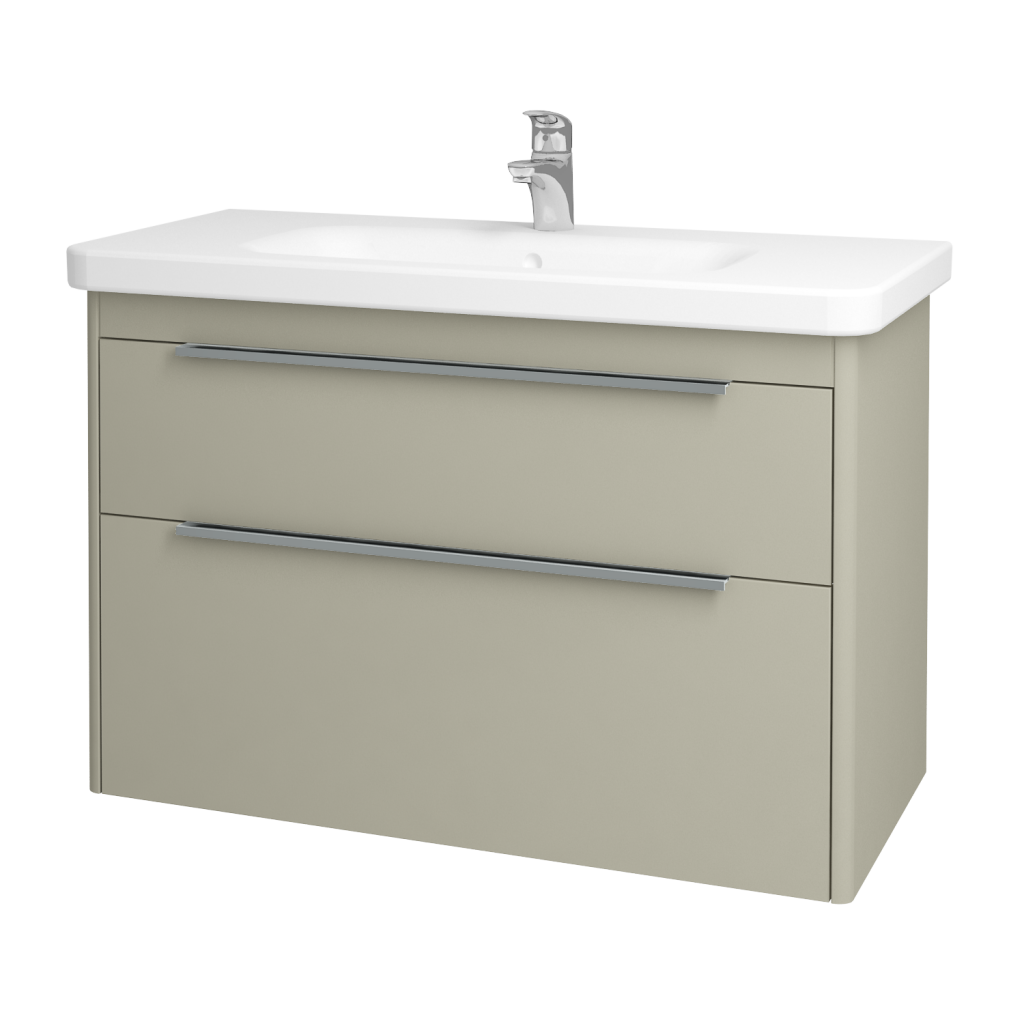 Dřevojas - Koupelnová skříň ENZO SZZ2 100 - L04 Béžová vysoký lesk / L04 Béžová vysoký lesk (52501)
