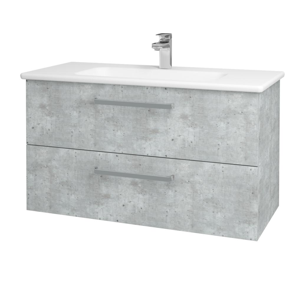Dřevojas - Koupelnová skříň GIO SZZ2 100 - D01 Beton / Úchytka T01 / D01 Beton (130626A)