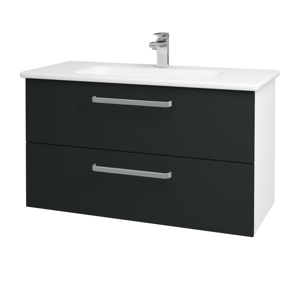 Dřevojas - Koupelnová skříň GIO SZZ2 100 - N01 Bílá lesk / Úchytka T01 / L03 Antracit vysoký lesk (130763A)
