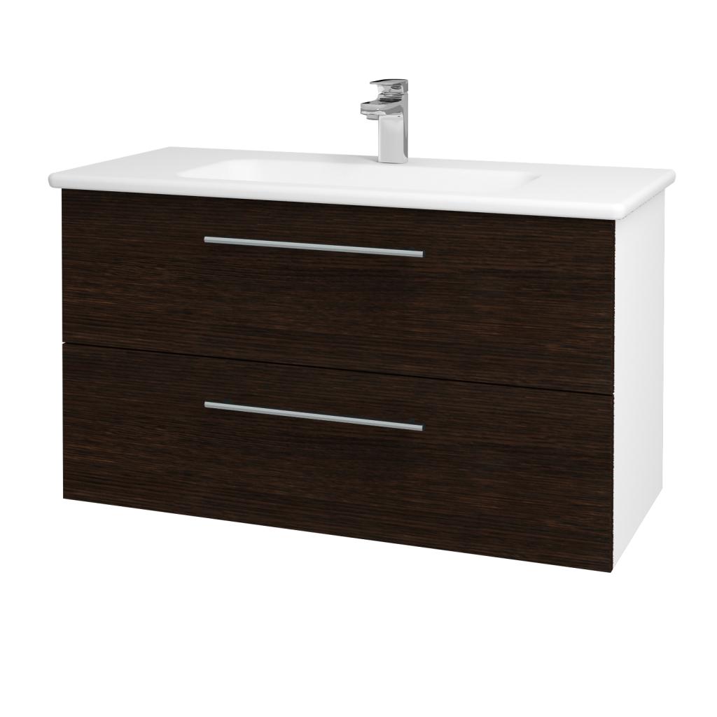 Dřevojas - Koupelnová skříň GIO SZZ2 100 - N01 Bílá lesk / Úchytka T02 / D08 Wenge (130541B)