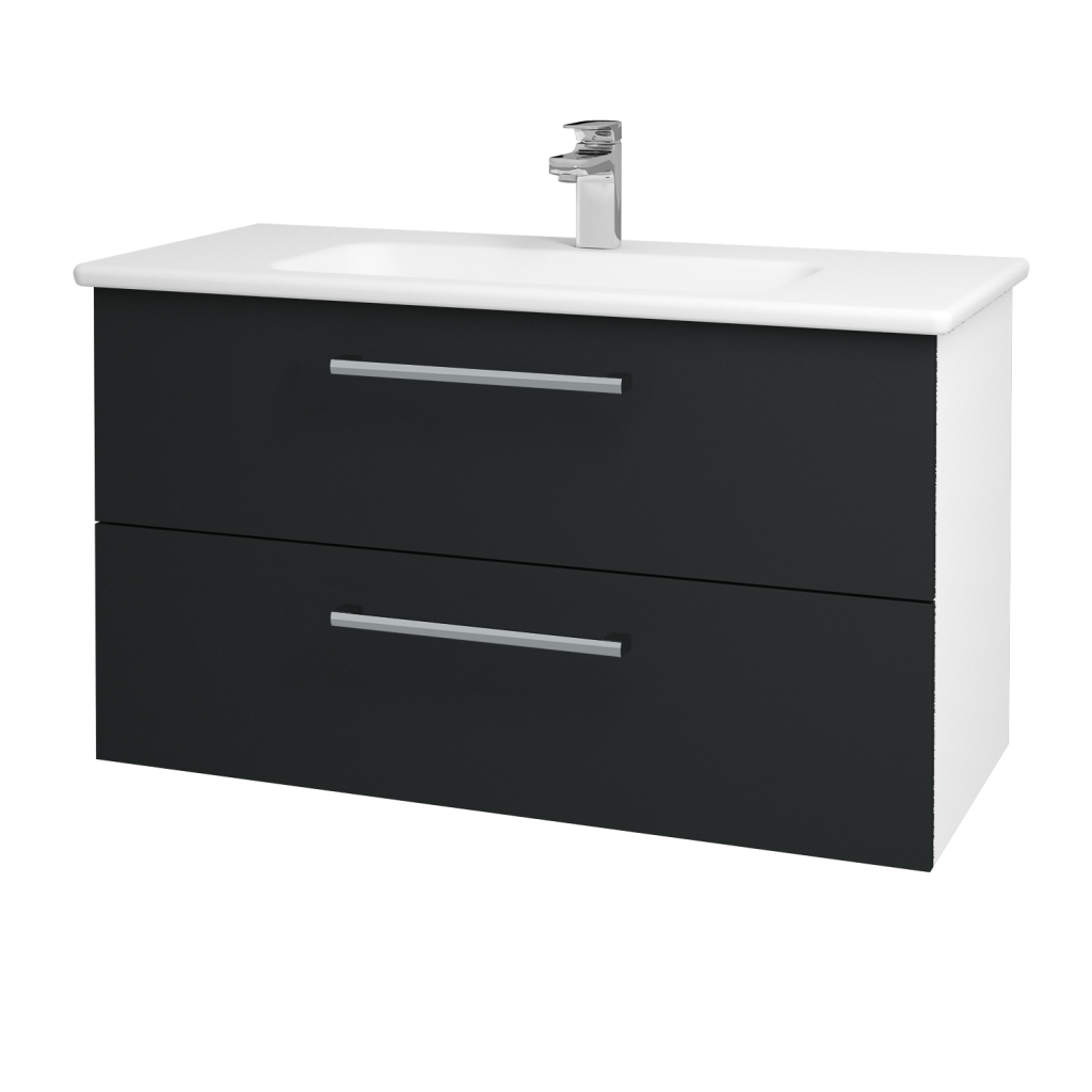 Dřevojas - Koupelnová skříň GIO SZZ2 100 - N01 Bílá lesk / Úchytka T03 / L03 Antracit vysoký lesk (130763C)